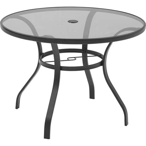 round glass top outdoor table hton bay mix and match round metal outdoor dining table