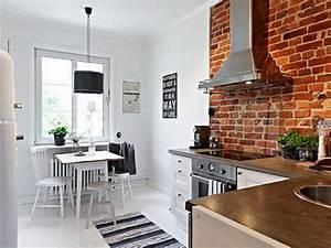 ladrillo a la vista en interiores decoracion de With kitchen cabinets lowes with papier peint brique rouge