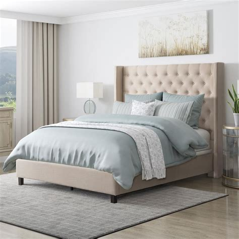 Bed Frame With Fabric Headboard by Corliving Fairfield Beige Tufted Fabric Single Bed