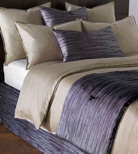 Niche Luxury Bedding By Eastern Accents  Horta Lilac Bed. Sofa Bed. Chrome Faucet. Grey Pendant Light. San Francisco Photographers