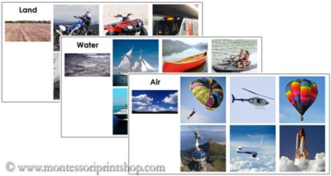 Air Land And Water Transportation Sorting Cards