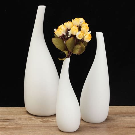 white flower table l 3 sizes modern streamline ceramic vase white flower