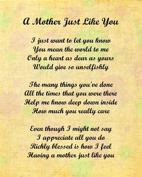Items Similar To Mother Just Like You Love Poem For Mom 8