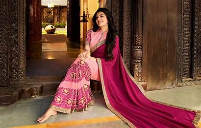 Saree Indian Kajal Agarwal Desi Culture Laying