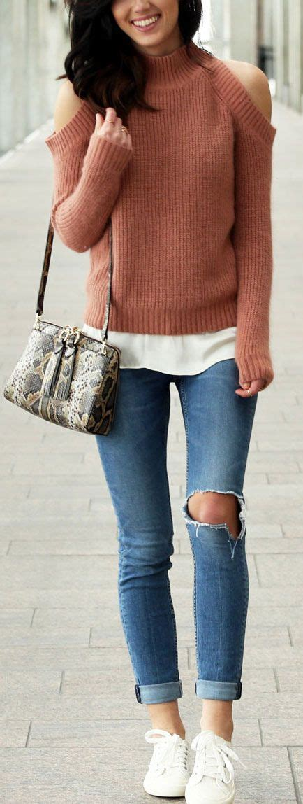 Style up Winter Look with Ripped Jeans and Sweater Outfit Fashion u2013 Designers Outfits Collection
