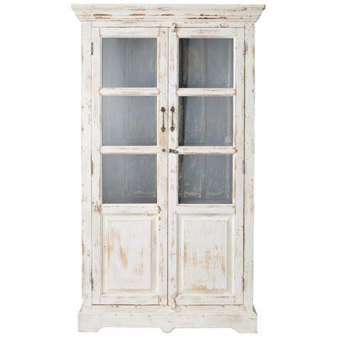 vitrine en manguier blanche effet vieilli   cm avignon maisons du monde