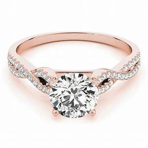 Diamond Accented Twisted Band Engagement Ring 14k Rose