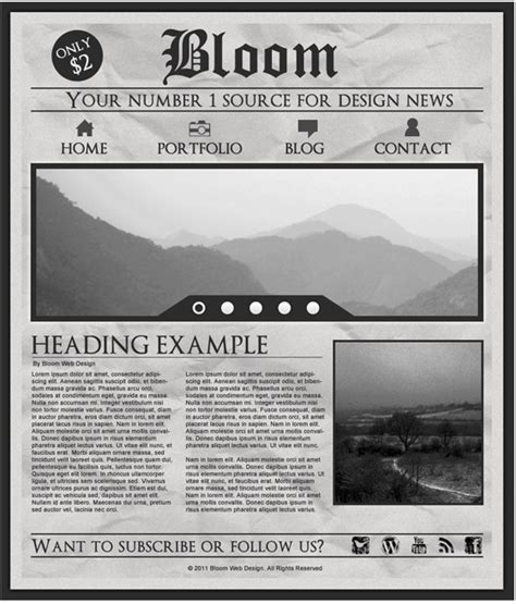 design  grungy newspaper web layout  photoshop designbump
