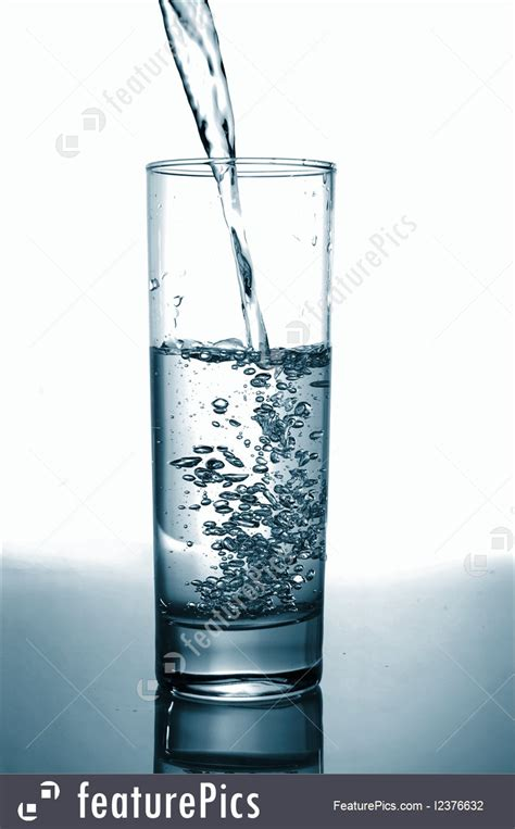 beverages glass  pouring water  reflection stock