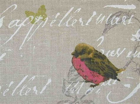 curtain fabric upholstery fabric garden birds script