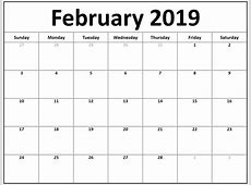 Download February 2019 Blank Calendar Templates Free