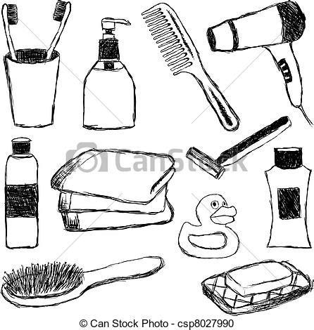 Vector Clipart of bathroom doodle collection csp8027990