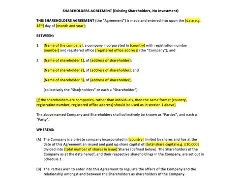 Simple Shareholders Agreement Template by Shareholders Agreement Template Uk Template Agreements