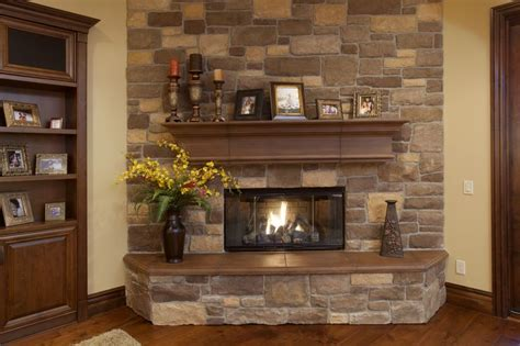 indoor fireplace  stone veneer wall face fireplaces
