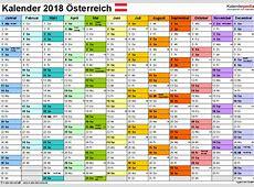 Kalender 2018 Österreich in Excel zum Ausdrucken