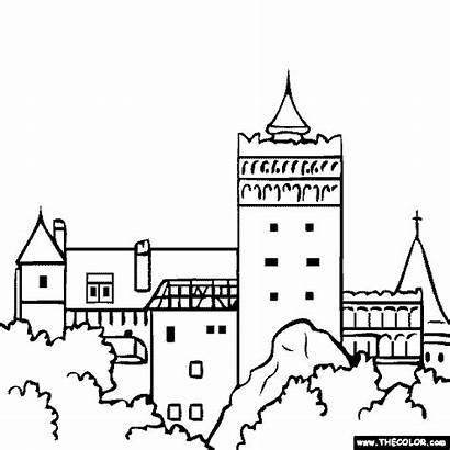 Castle Coloring Romania Bran Famous Places Dracula