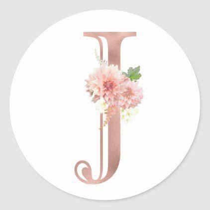 rose gold monogram letter  blush pink flower foil classic  sticker zazzlecom