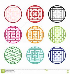 Modern Round Chinese Pattern Window Frame Vector ...