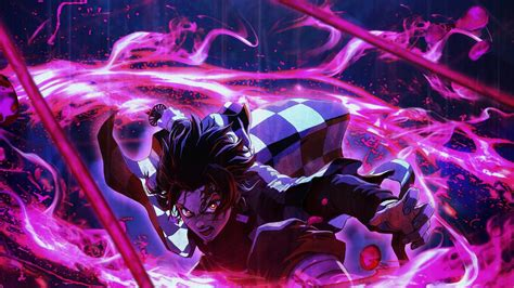Demon Slayer Tanjiro Kamado Around Purple Lightning With Black Background Hd Anime Wallpapers