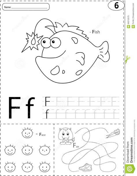 cartoon fish face  fox alphabet tracing worksheet