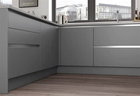 Slab Handleless doors   Zola Matte Dust Grey Uform