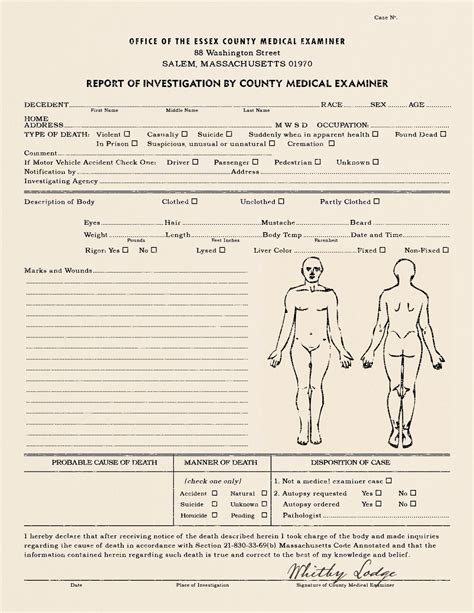 realistic blank police reportautopsy report