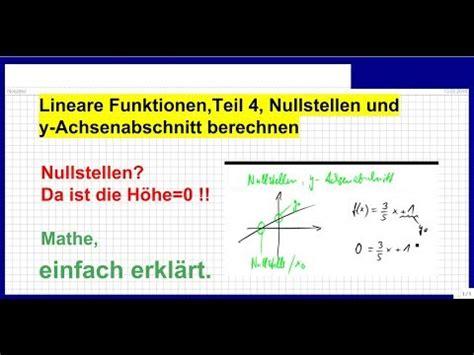 lineare funktionen nullstellen und  achsenabschnitt