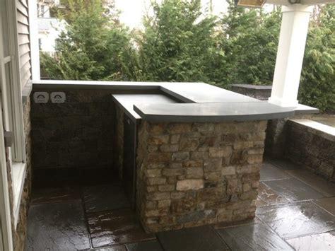 custom natural stone service bar  polished bluestone