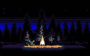 JFS Shovel Knight By A Campfire 1920x1200 PixelArt