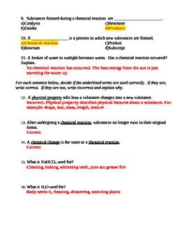 review chemical reactions worksheet quiz by jjms tpt