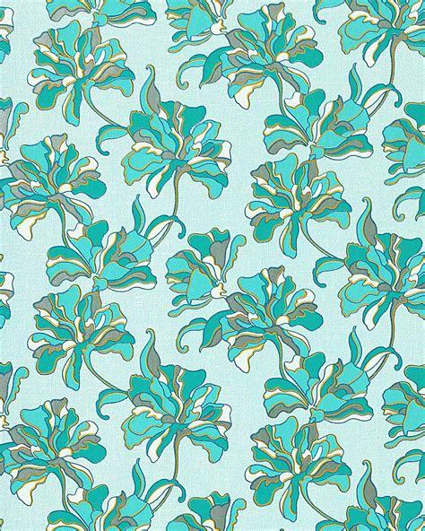 edem   wallpaper floral design flowers turquoise blue