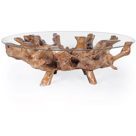 """This teak root coffee table embodies the quality craftsmanship and unmatched style you've come to expect from our brand. Teak Wood Root Coffee Table including a 63"""" Round Glass Top by Chic Teak only $1,145.83 