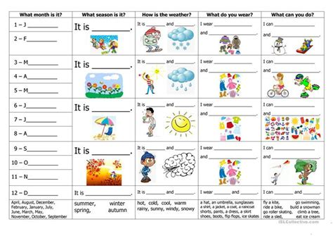months seasons weather clothes and activities worksheet