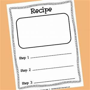 pretend play writing printables prekinders With recipe templates for kids