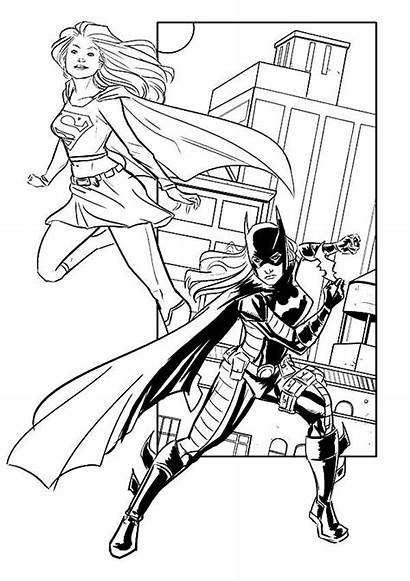 Coloring Batgirl Pages Supergirl Batwoman Working Together