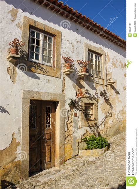 traditional colonial house plans facade typical whitewashed house obidos portugal