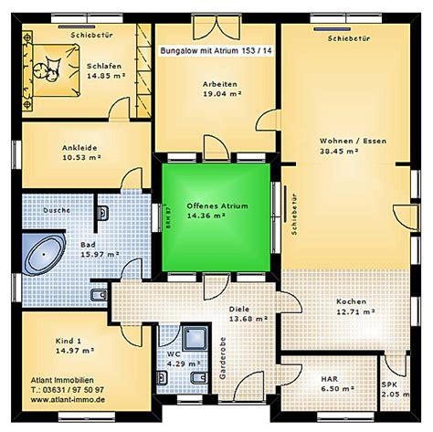 Bungalow Mit Atrium by Atrium 153 14 Bungalow Einfamilienhaus Neubau Massivbau