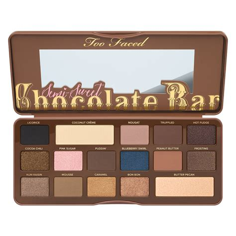 semi sweet chocolate semi sweet chocolate bar eyeshadow palette too faced mecca