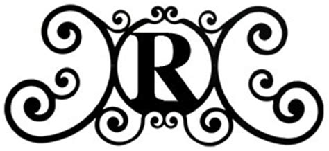 monogram wall letter r wrought iron wall plaque