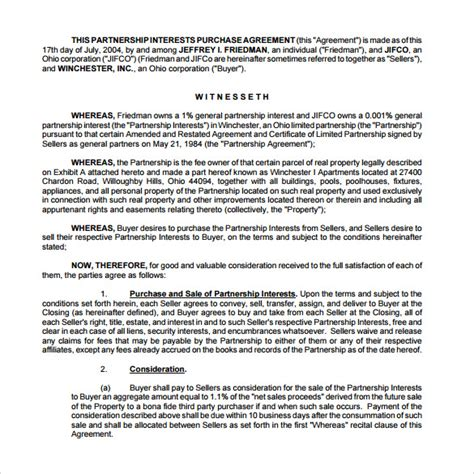 sample real estate partnership agreement
