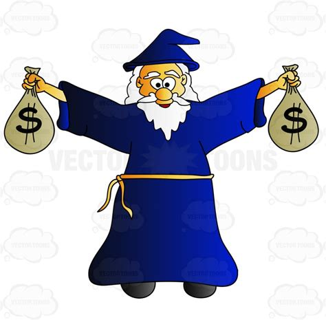 cheerful old wizard carrying bags of money cartoon clipart