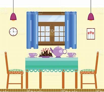 Dining Clipart Table Vector Interior Flat Cartoon