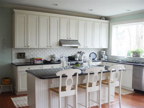 Rich And Charming Diagonal Small Tile White Kitchen