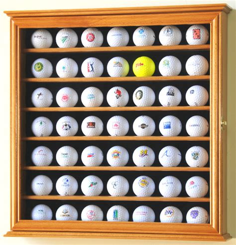 Pga 49 Golf Ball Display Case Cabinet Wall Rack Holder W
