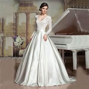 aliexpresscom buy 2016 ball gown vintage princess v With satin v neck wedding dress