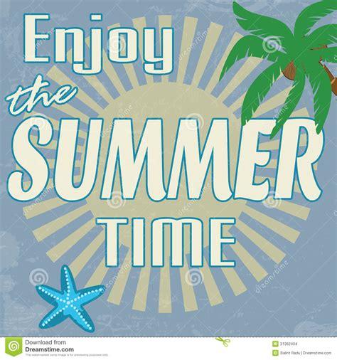 enjoy  summer time vintage poster stock images image