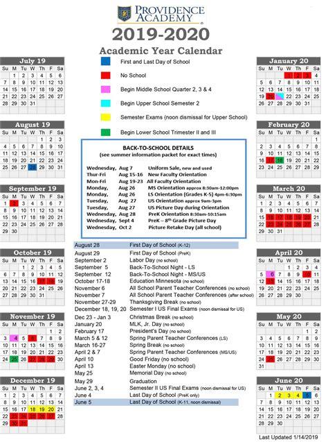 academic calendar providence academy