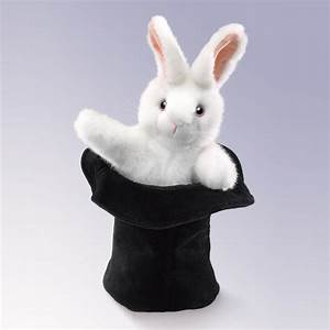 black and white gift certificate large rabbit in hat hand puppets by folkmanis puppets