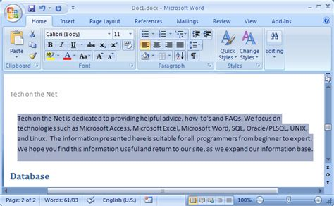 ms word  indent text