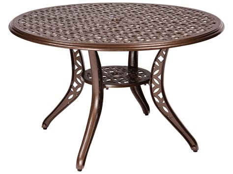 table with umbrella hole woodard casa cast aluminum 48 round dining table with